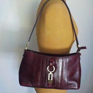 Etienne Aigner Wine Leather Shoulder Bag